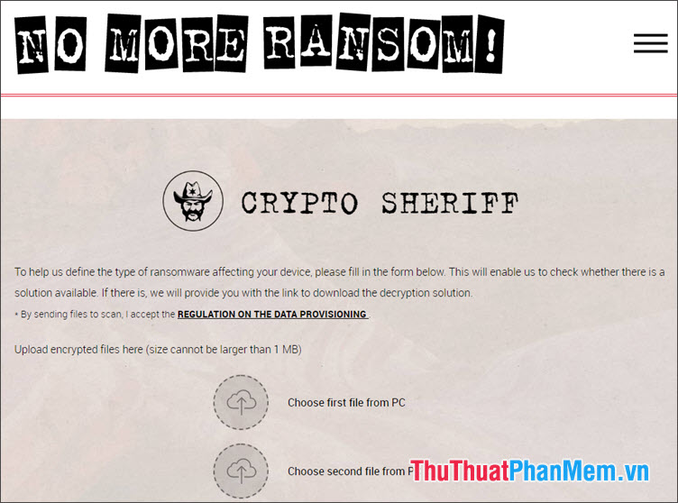 Giải mã file trực tuyến với No More Ransom