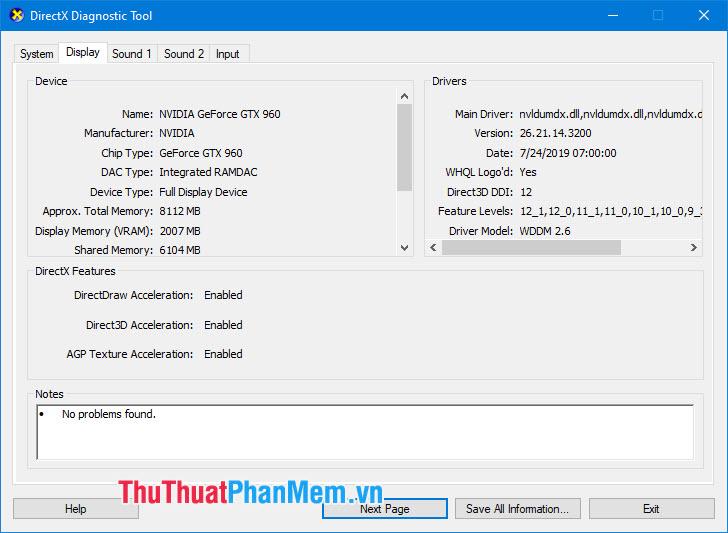 Phần Display sẽ hiển thị cho bạn thông số về card màn hình (GPU) đang sử dụng trên máy tính