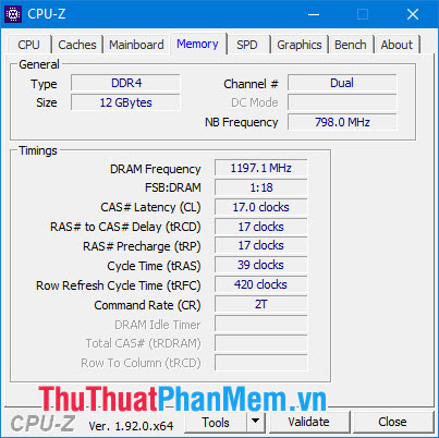 Phần Memory ta có thể xem các thông số chung về bộ nhớ RAM trên máy tính