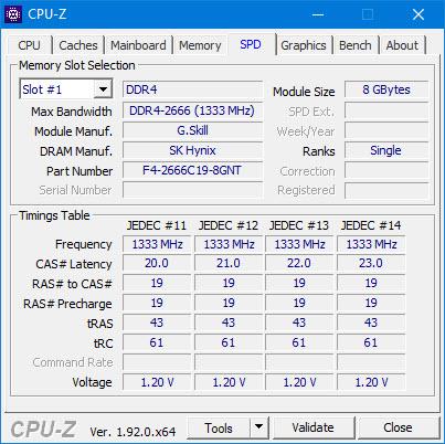 Phần SPD sẽ đi chi tiết về thông số từng thanh RAM trên máy tính của bạn