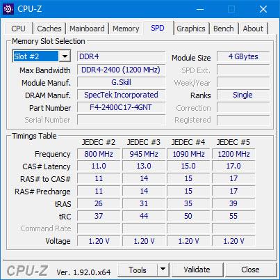 Thông số thanh RAM thứ 2 (Slot #2) trên máy tính