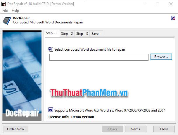 Chọn Browse rồi chọn file bị lỗi trong máy tính
