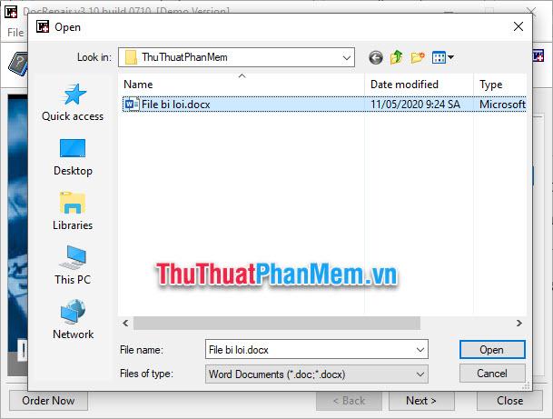 Chú ý không đặt tên file bằng tiếng Việt