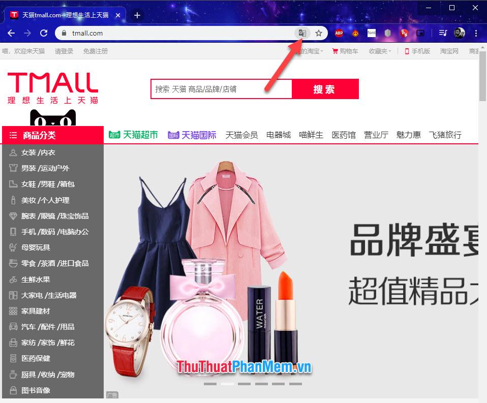 Click biểu tượng Translator trên Chrome