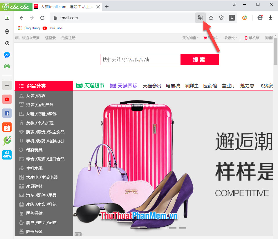 Click biểu tượng Translator trên Cốc Cốc