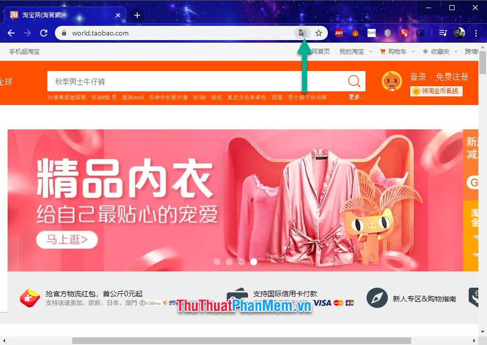 Click vào biểu tượng Translator trên Chrome