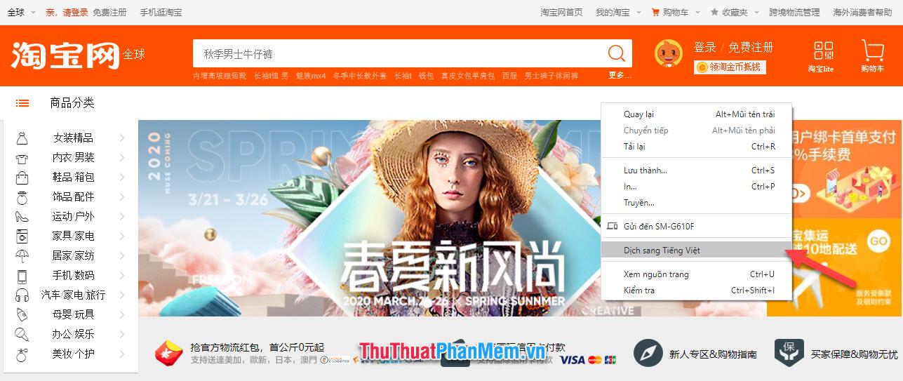 Dịch Taobao sang tiếng Việt của Chrome