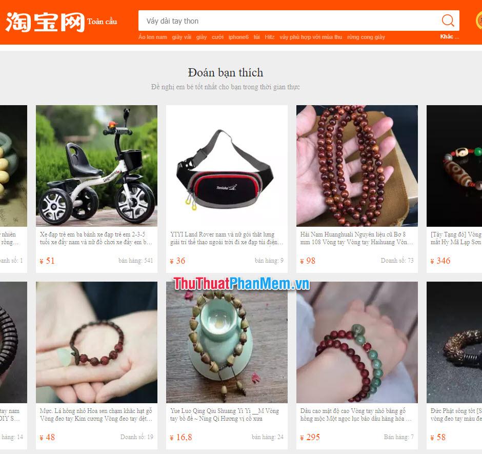 Trang web Taobao được dịch sang Tiếng Việt