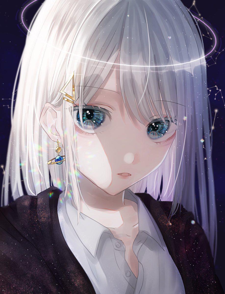 Ảnh anime nữ tóc trắng ngầu