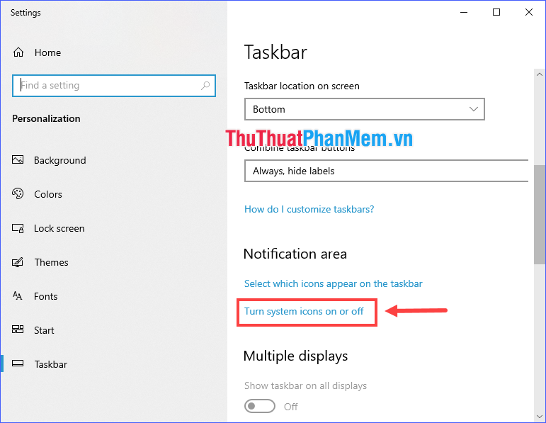 Chọn Turn system icons on or off