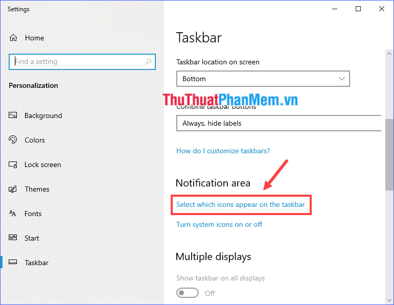 Click vào Select which icons appear on the taskbar