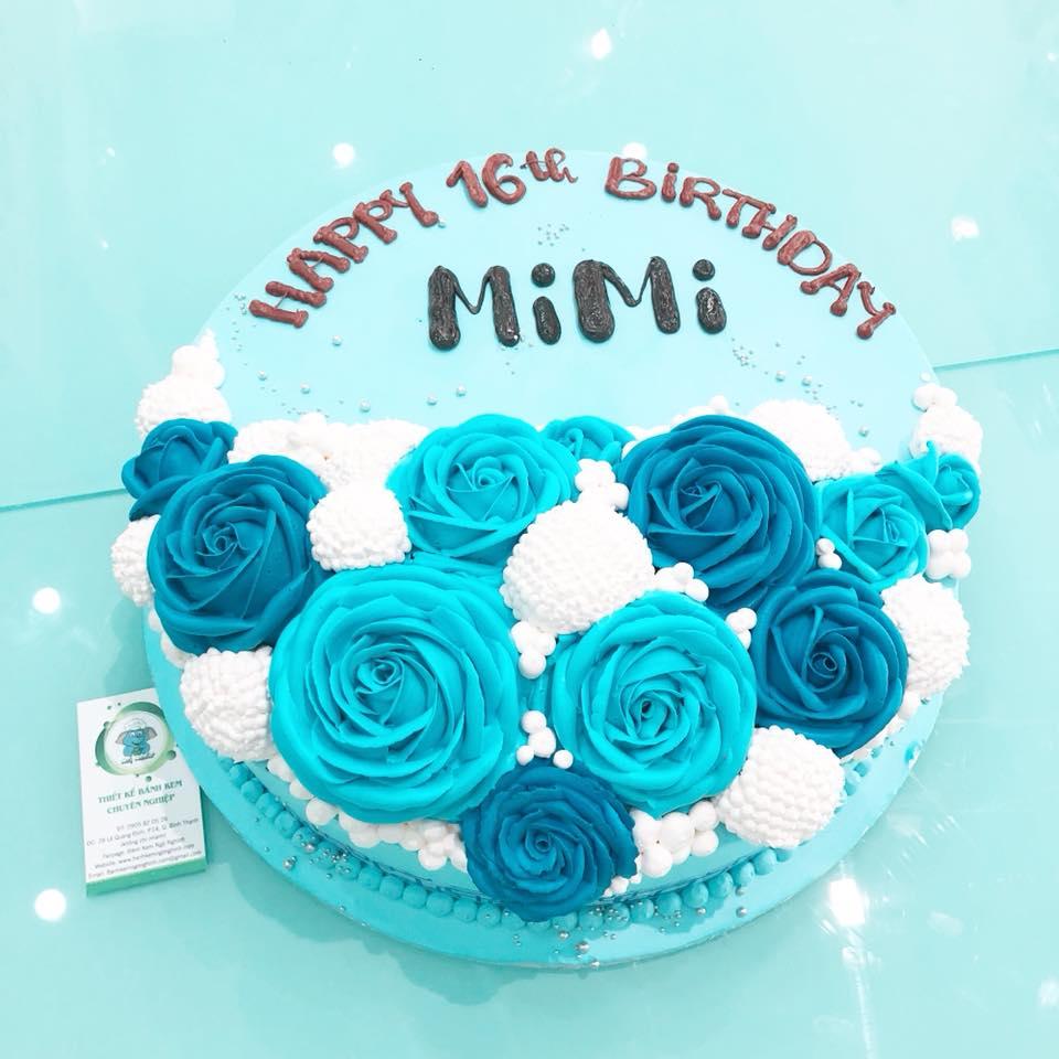 Bánh gato hoa hồng xanh