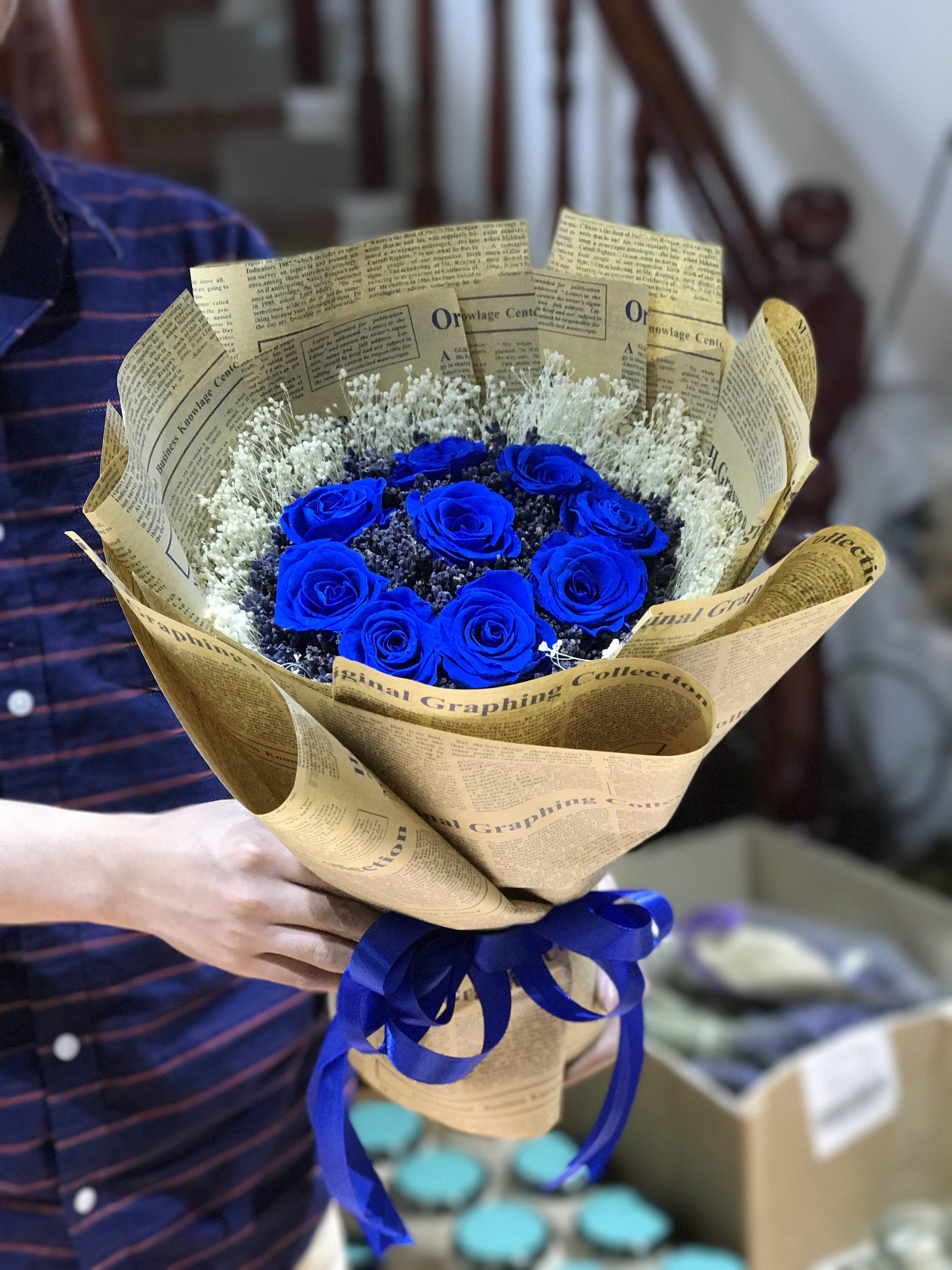 Bó hoa hồng xanh cực đẹp