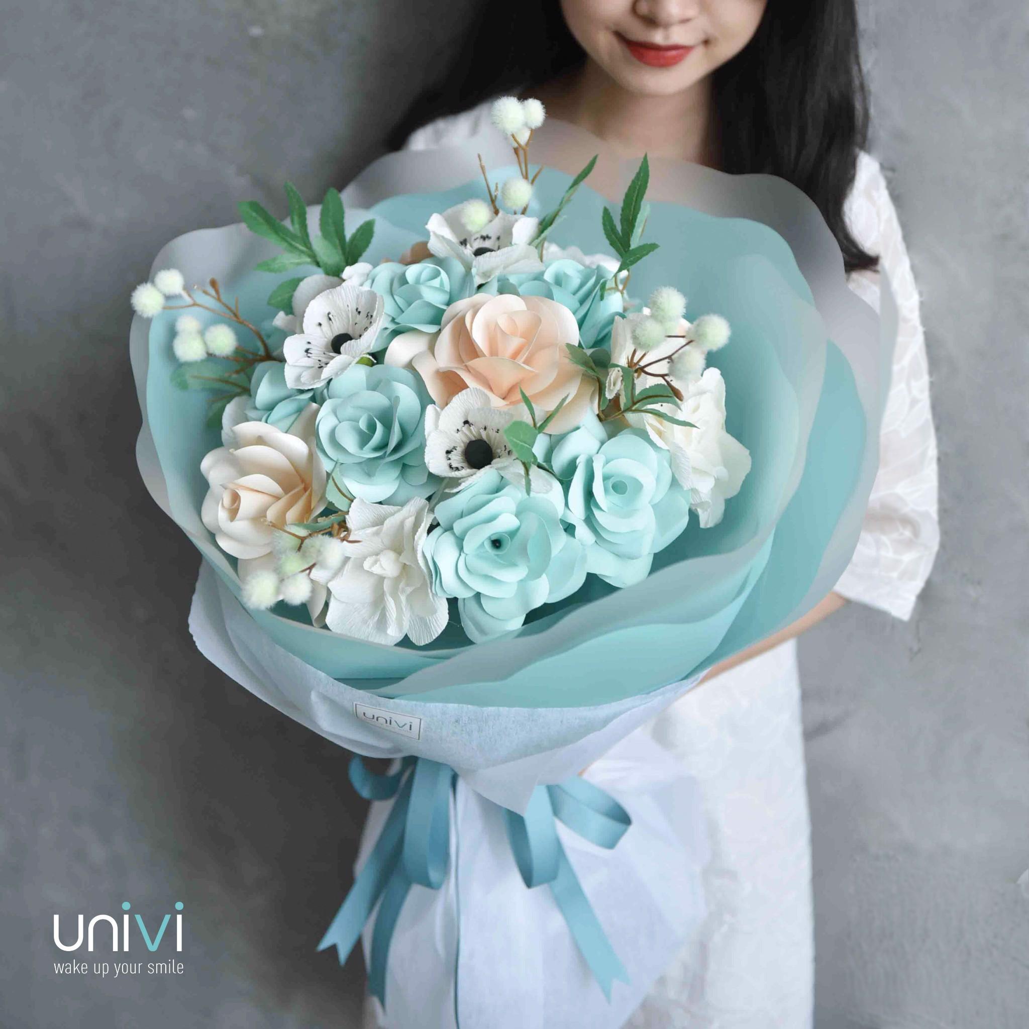 Bó hoa hồng xanh rất đẹp cực đẹp