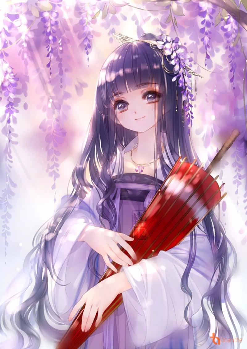 Hình ảnh anime cổ trang cô gái bé bỏng tóc tím