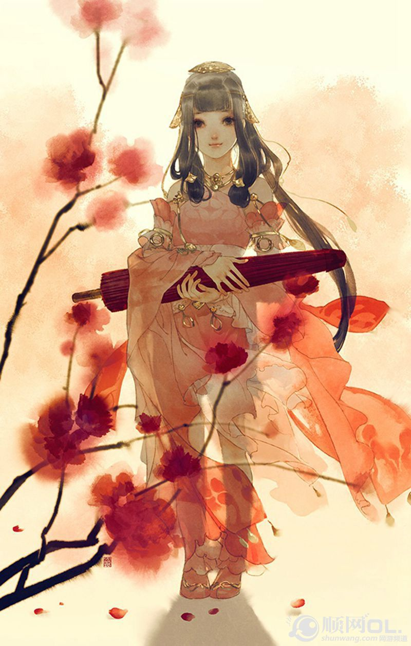 Hình ảnh anime cổ trang cô gái và chiếc ô
