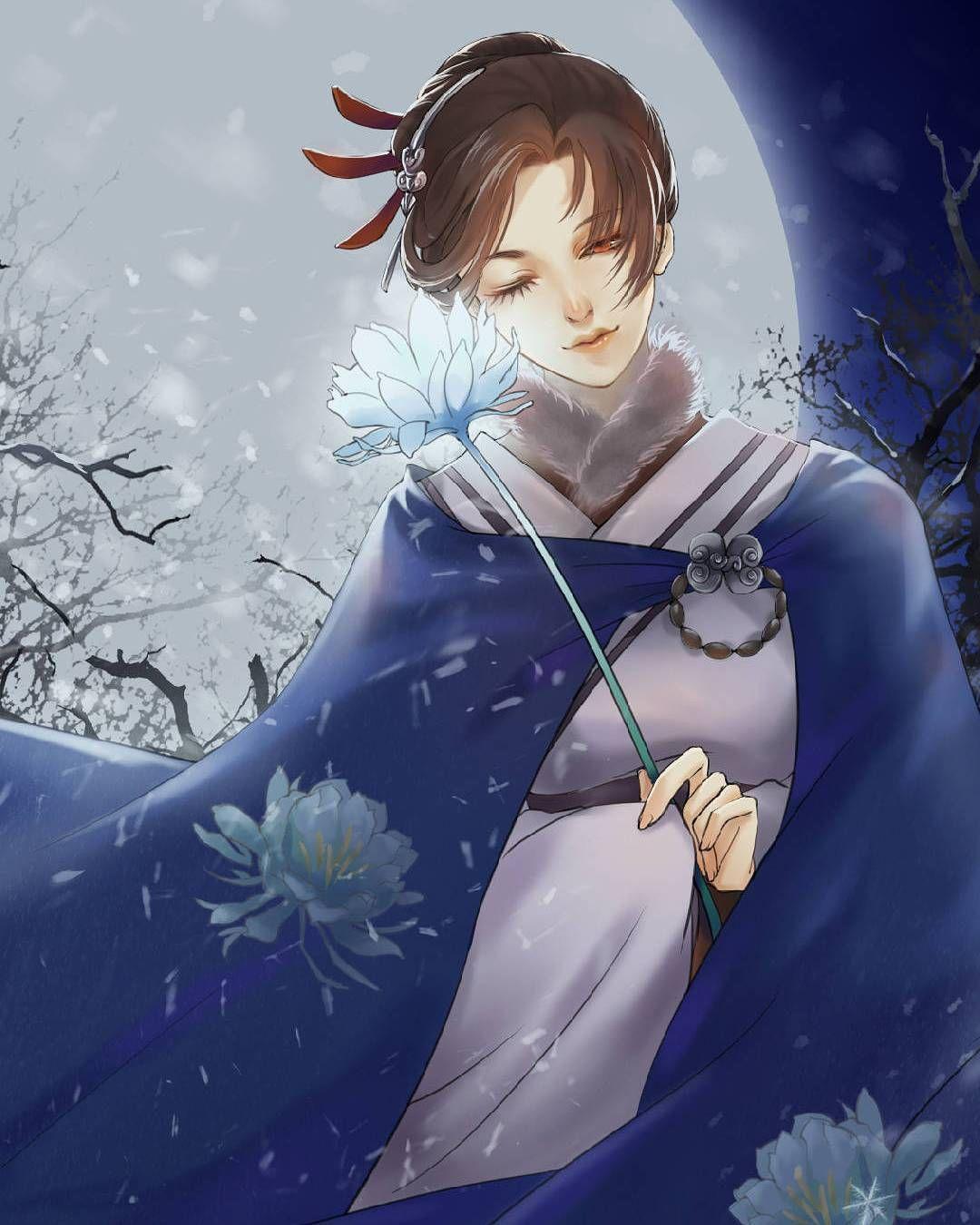 Hình ảnh anime cổ trang cô gái và hoa