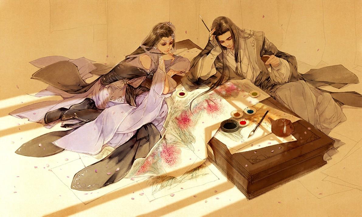 Hình ảnh anime cổ trang cực đẹp cùng ngồi vẽ