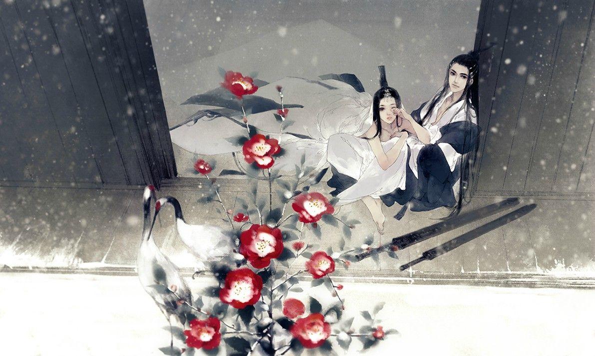 Hình ảnh anime cổ trang cùng ngắm tuyết rơi và hồng hạc