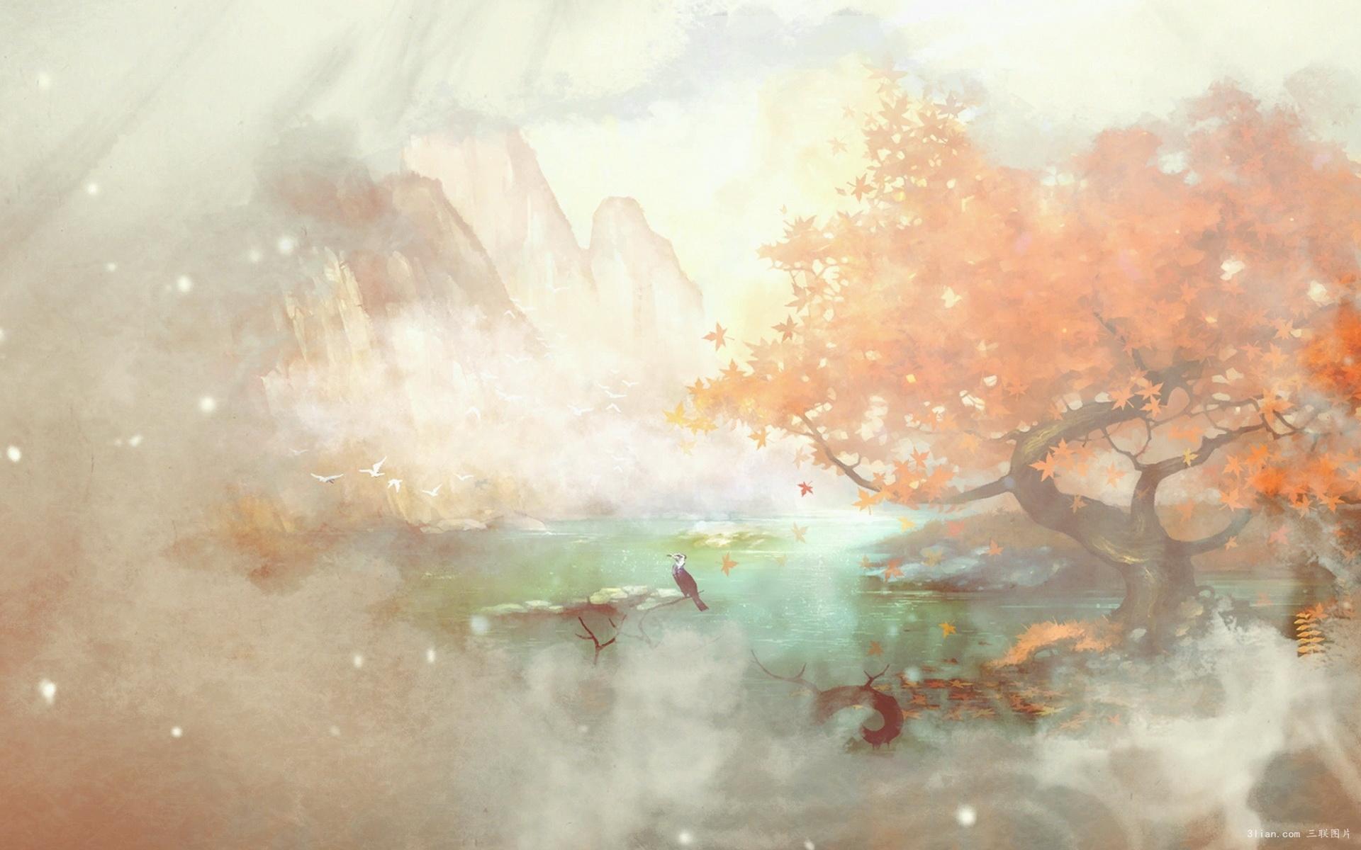 Hình ảnh anime cổ trang khung cảnh suối nước nóng thơ mộng