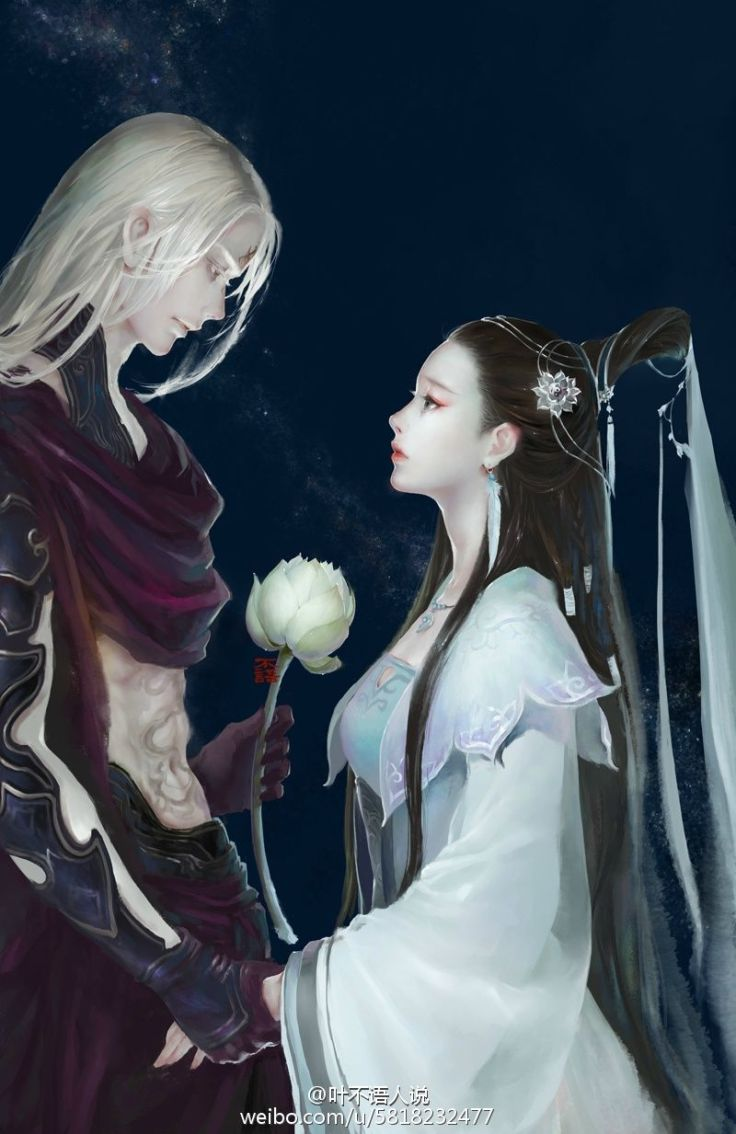 Hình ảnh anime cổ trang liên hoa trắng