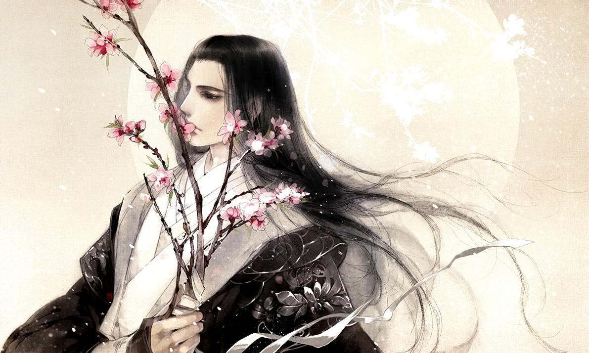 Hình ảnh anime cổ trang mỹ nam hoa anh đào