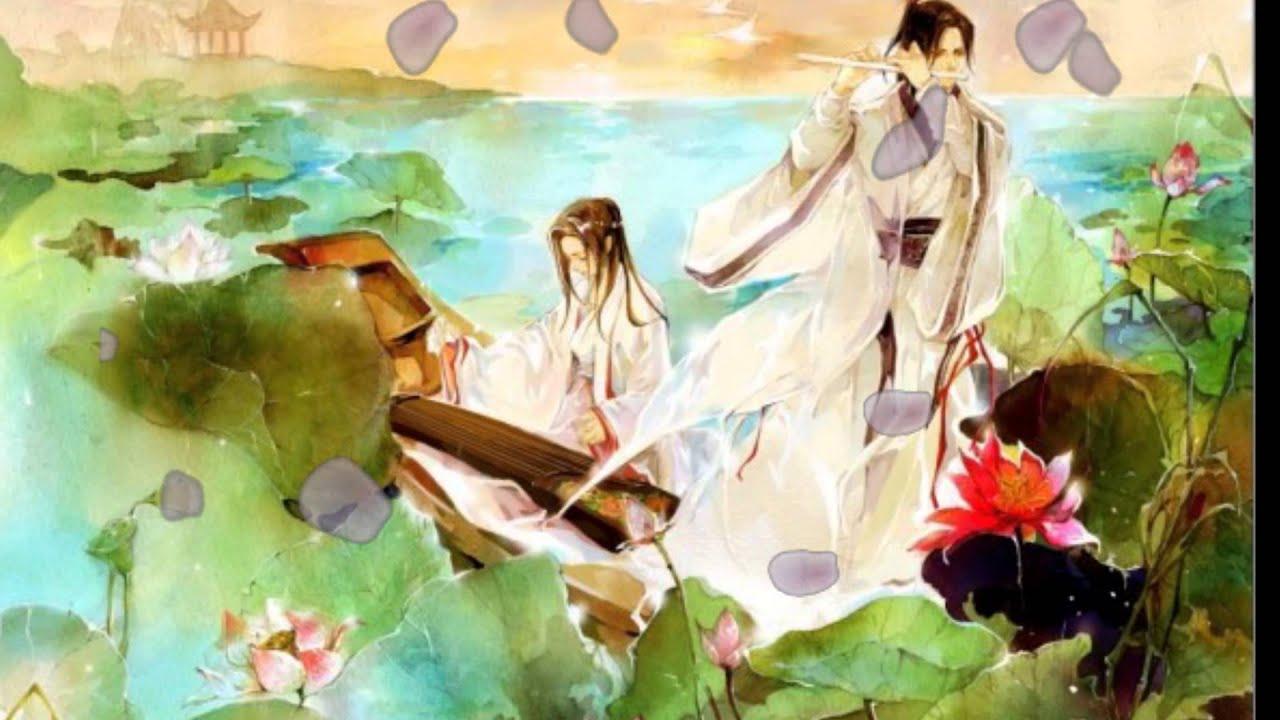 Hình ảnh anime cổ trang nàng đàn ta thổi sáo