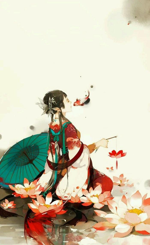 Hình ảnh anime cổ trang nàng tiên cá đỏ