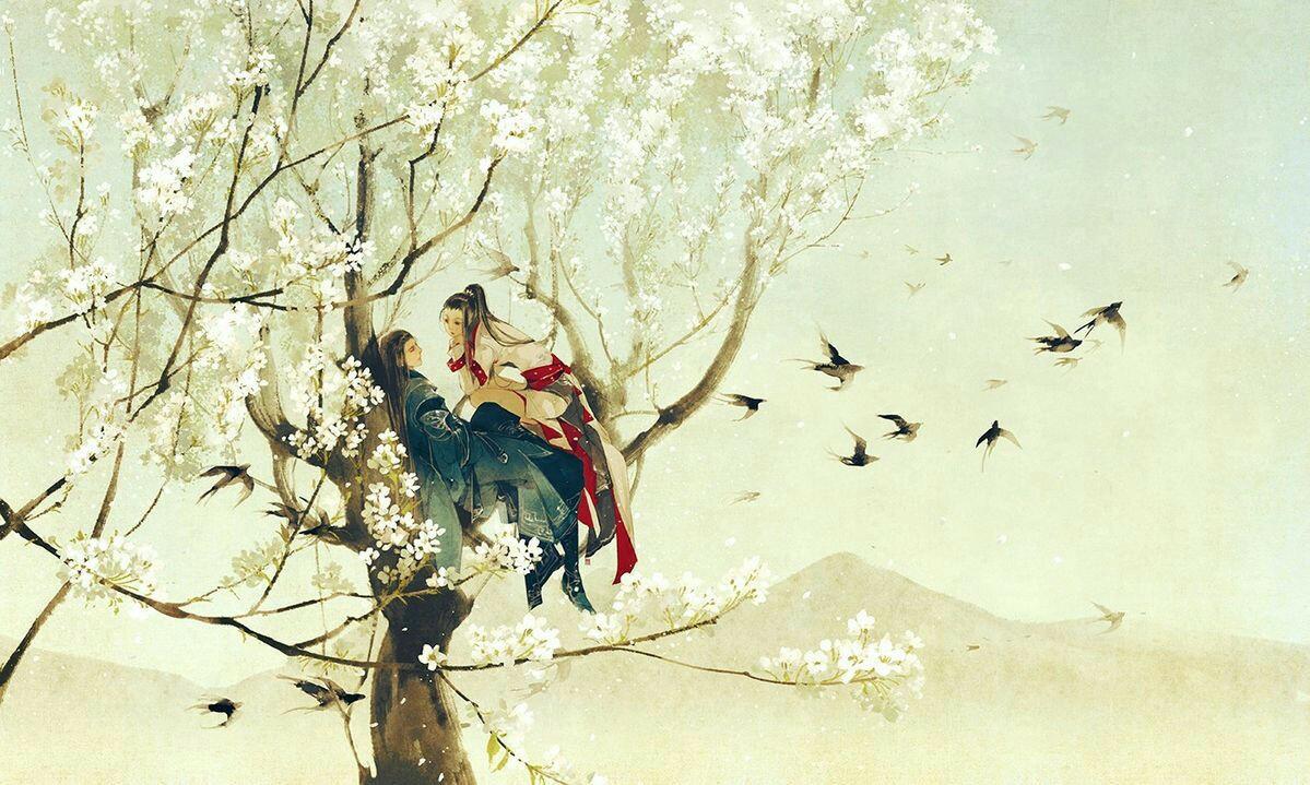 Hình ảnh anime cổ trang ngồi trên cây ngắm chim bay