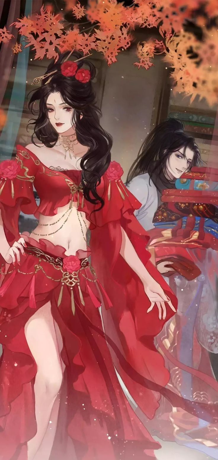 Hình ảnh anime cổ trang sự quyến rũ của váy đỏ