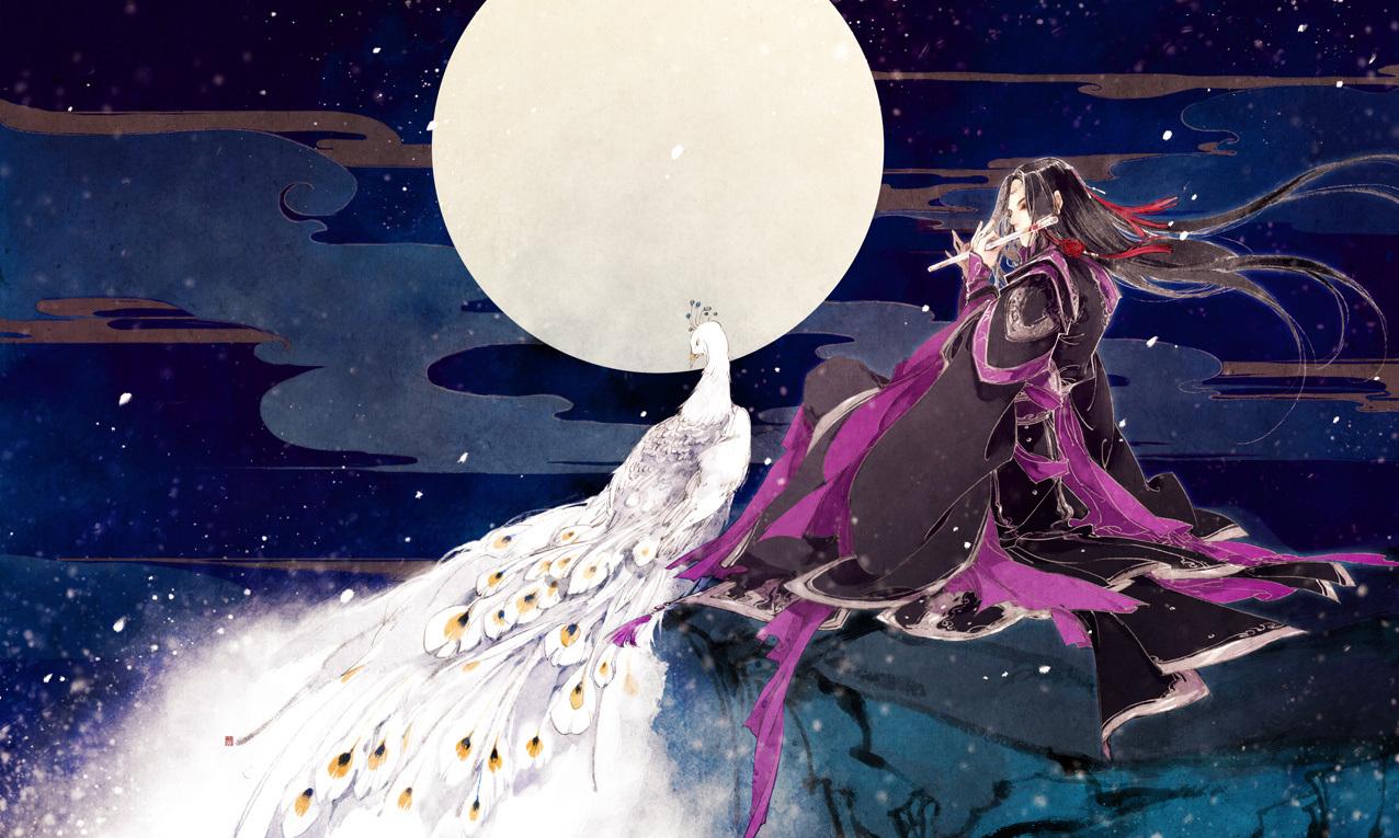 Hình ảnh anime cổ trang tử y thổi áo dưới đêm trăng