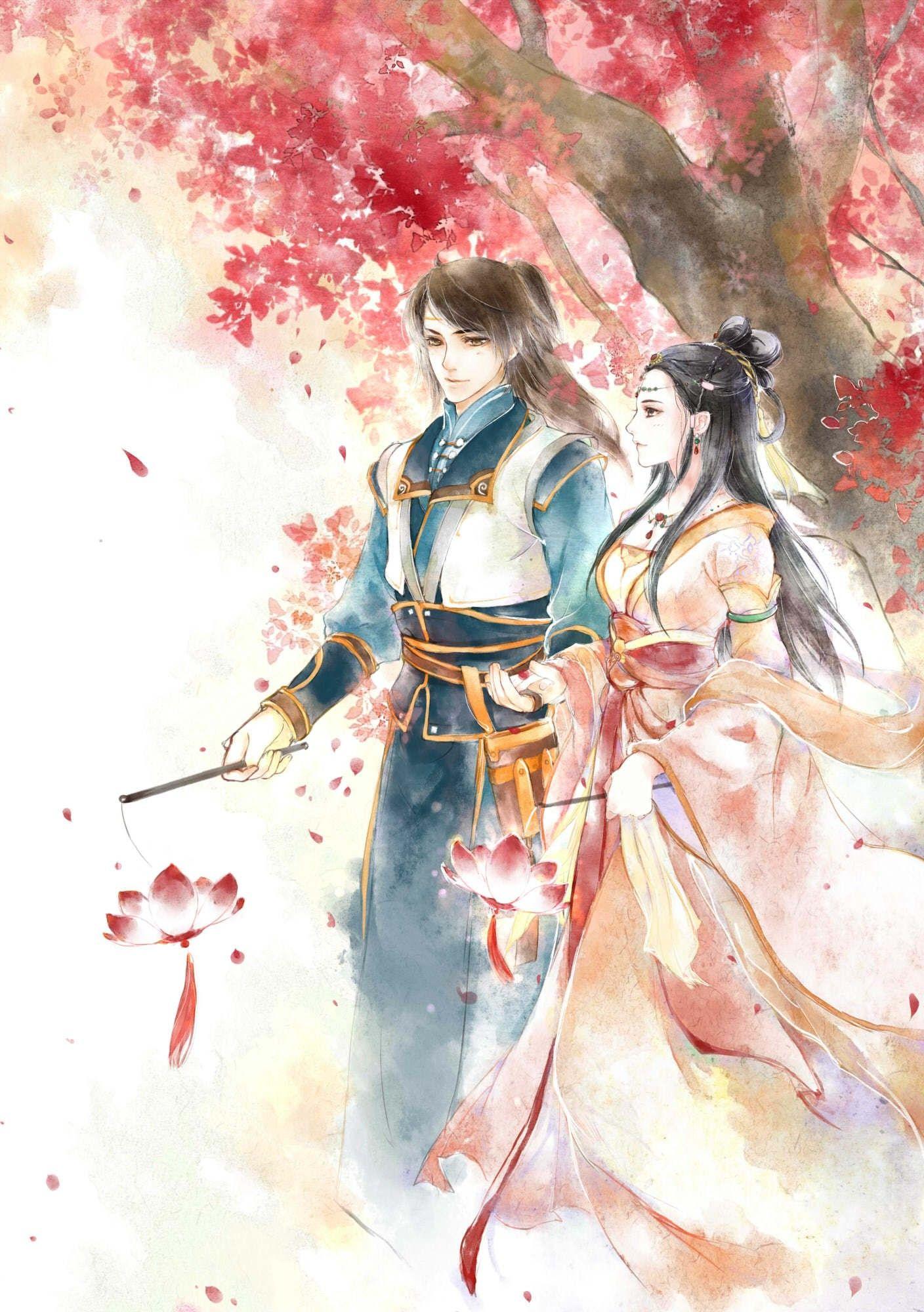 HÌnh ảnh anime cổ trang ước hẹn hoa đỏ