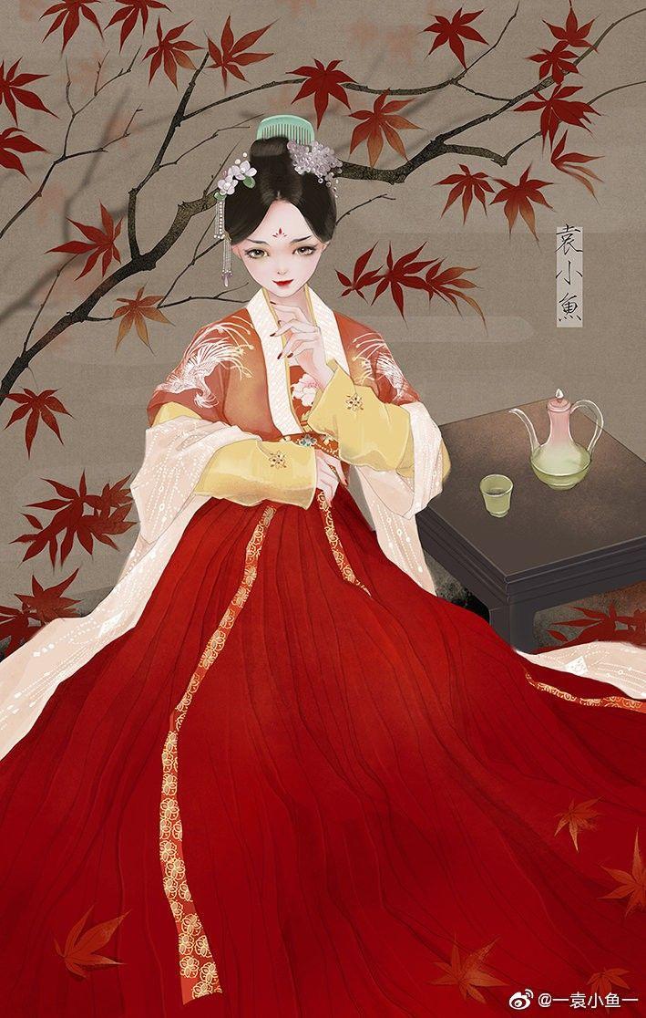 Hình ảnh anime cổ trang váy đỏ