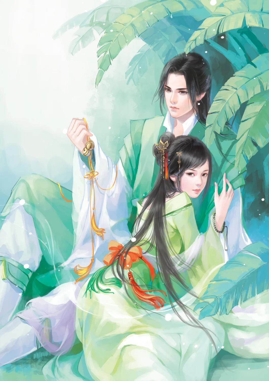 Hình ảnh anime cổ trang y phục màu xanh