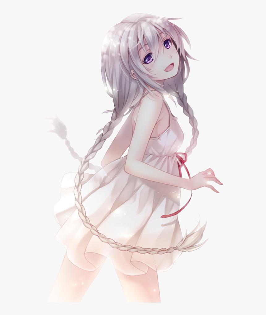 Hình ảnh anime tóc bạch kim bện đuôi rết