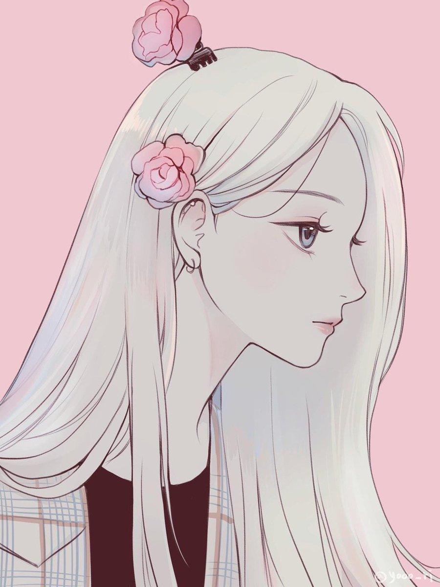 Hình ảnh anime tóc bạch kim cài hoa bên mái