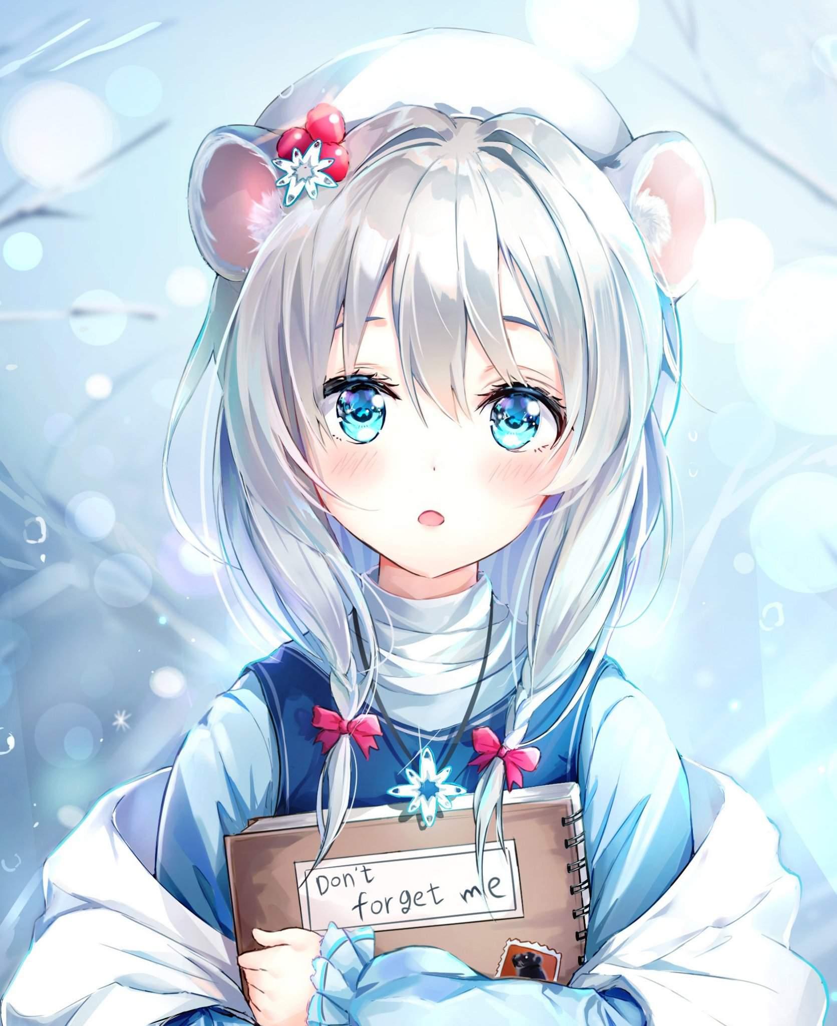 Hinh ảnh anime tóc bạch kim cô chuột đáng yêu