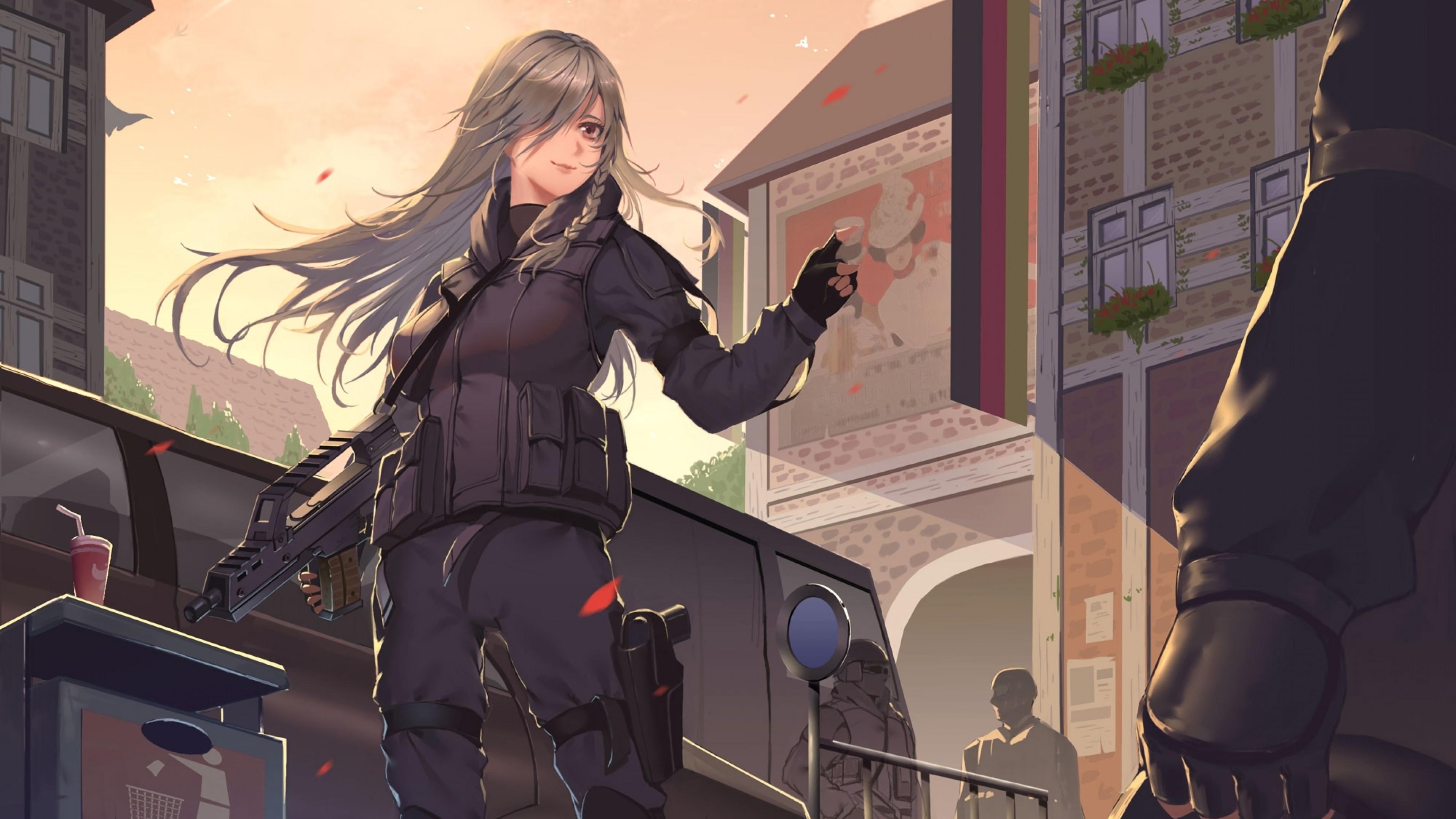 Hình ảnh anime tóc bạch kim đặc nhiệm xinh gái