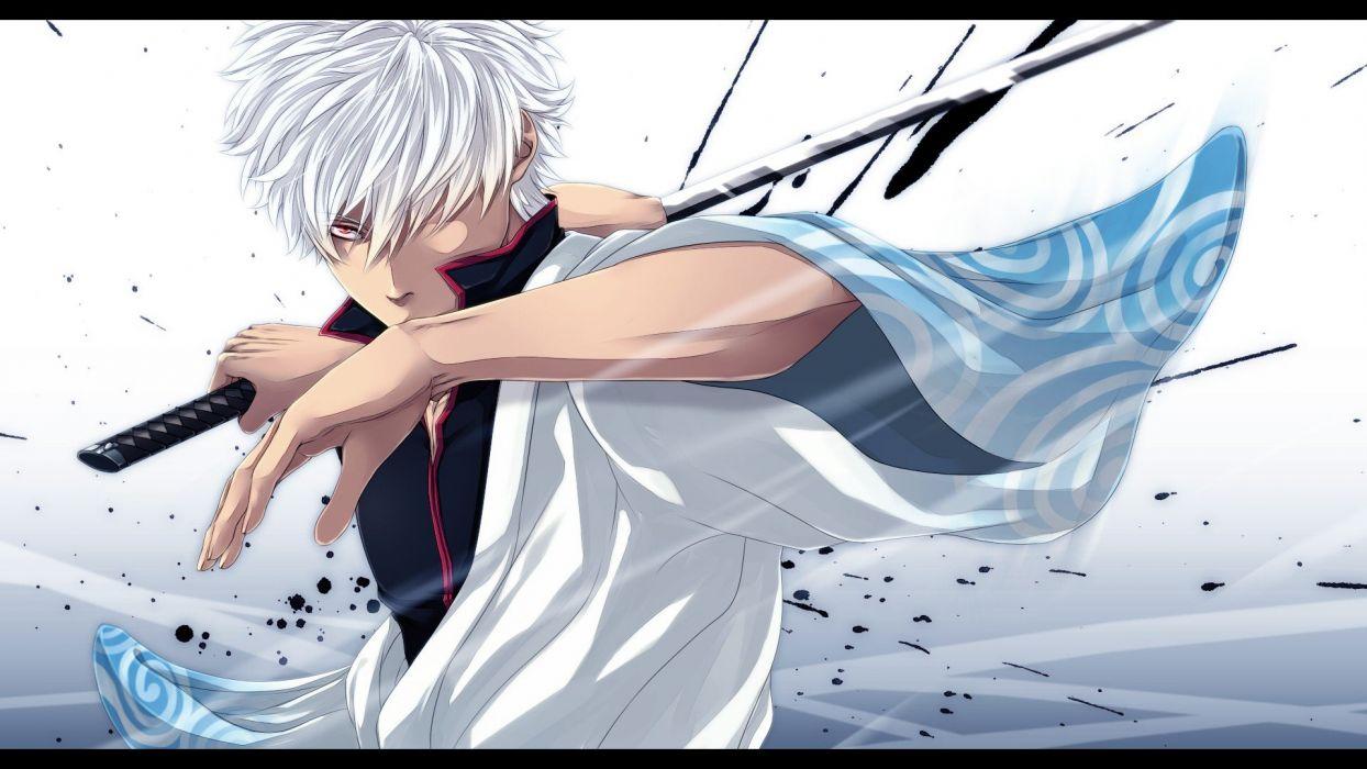 Hình ảnh anime tóc bạch kim Gintama cầm kiếm