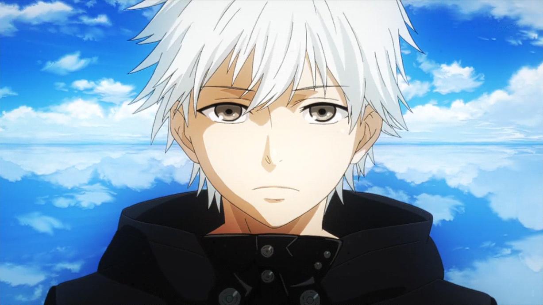 Hình ảnh anime tóc bạch kim mắt xám u buồn