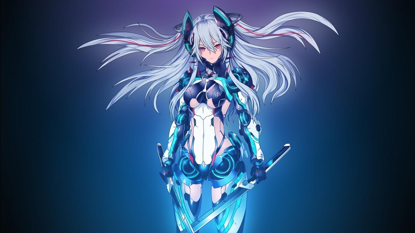Hình ảnh anime tóc bạch kim nữ chiến binh rất ngầu