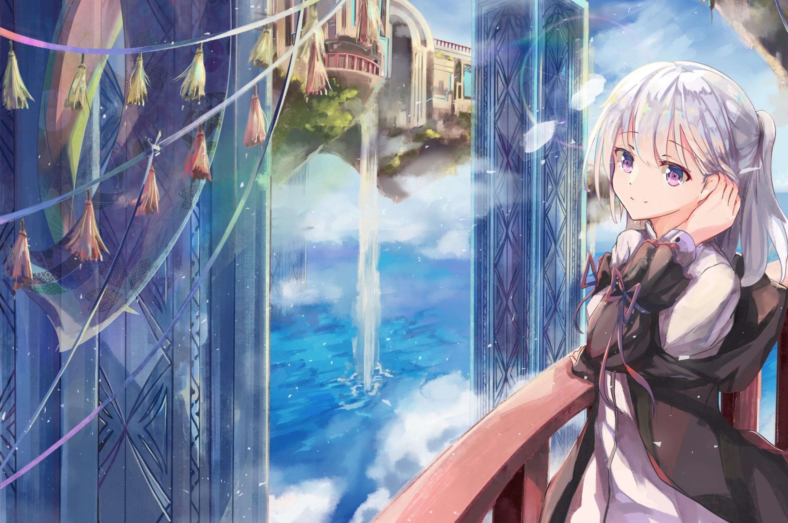 Hình ảnh anime tóc bạch kim thiếu nữ mắt tím xinh xắn