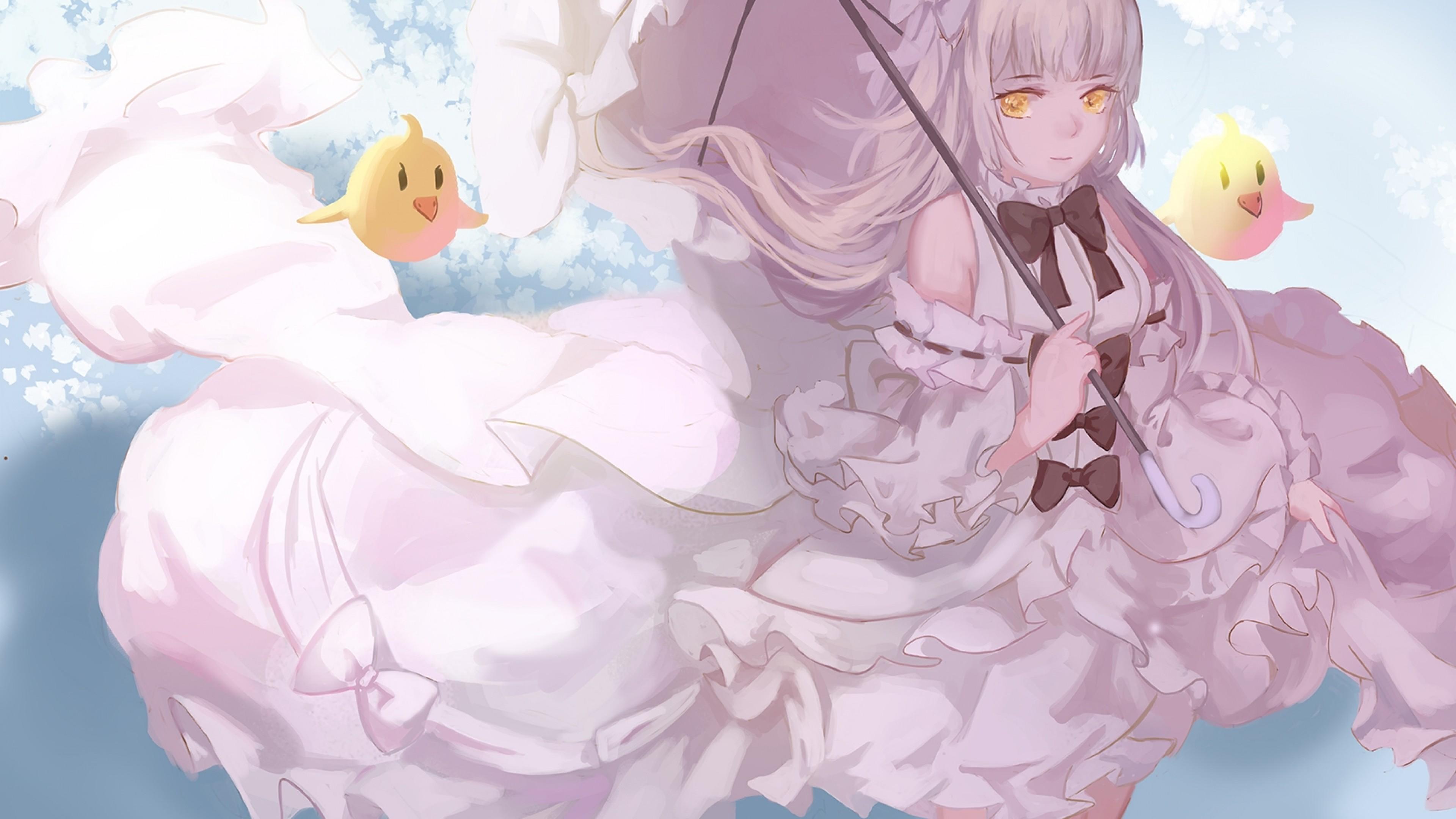 Hình ảnh anime tóc bạch kim váy ren cực đẹp