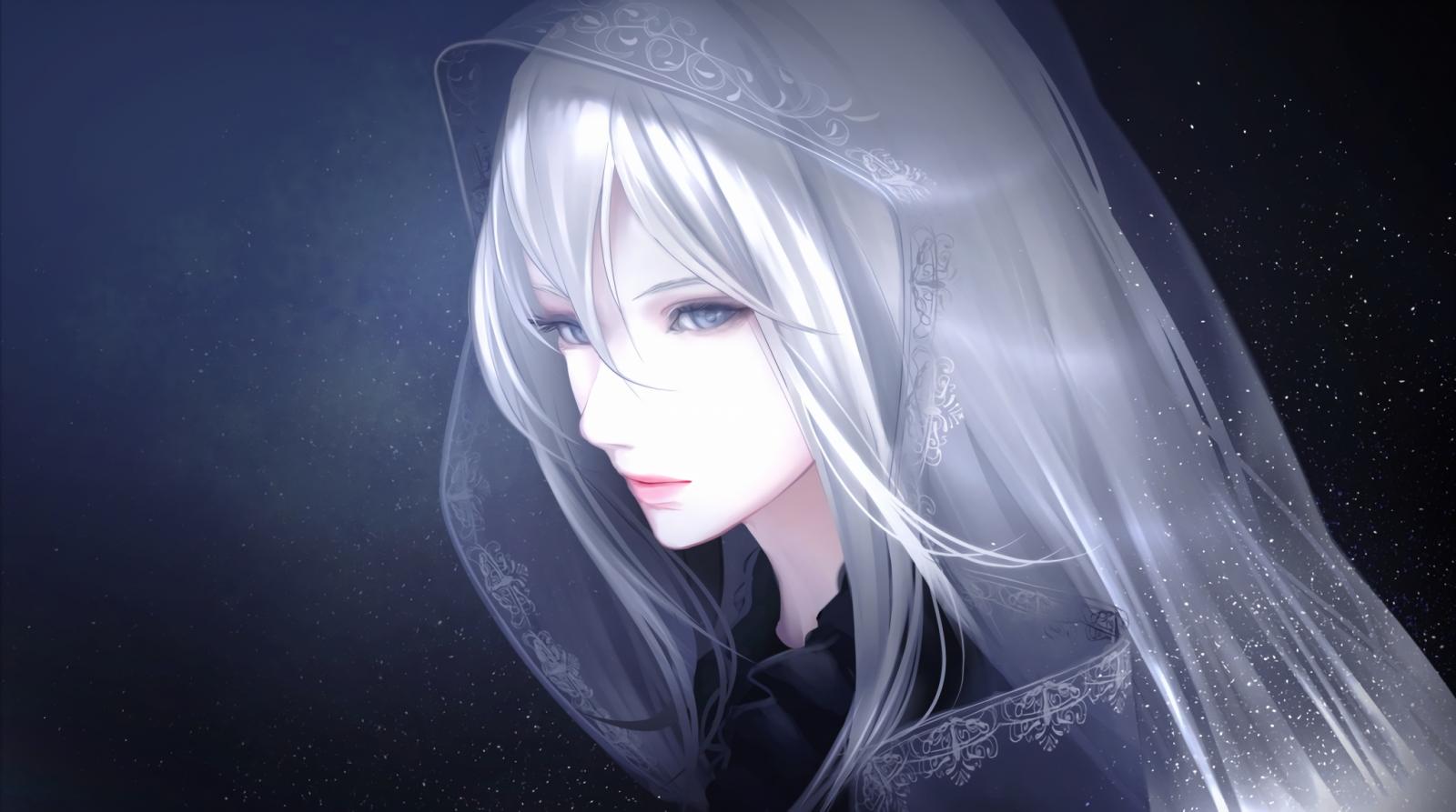 Hình ảnh anime tóc bạch kim xinh xắn như cô dâu