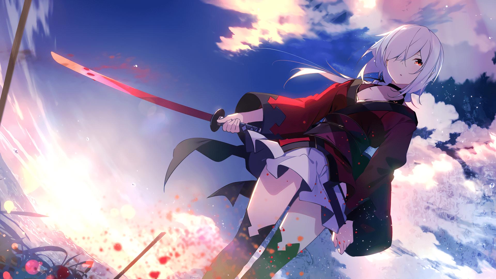 Hình ảnh anime tóc bạch kim yêu đao đỏ rực