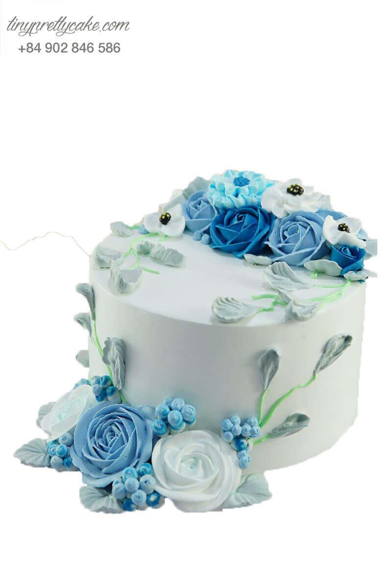 Hình ảnh bánh kem hoa hồng xanh