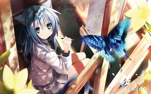 Hình ảnh cô bé mèo anime và bướm