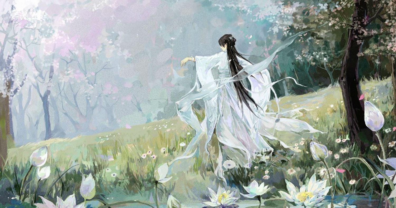 Hình ảnh cô gái anime cổ trang áo trắng cực đẹp