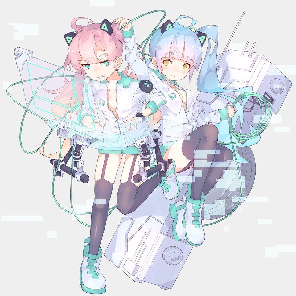 Hình ảnh hai cô gái mèo anime cực kỳ xinh đẹp