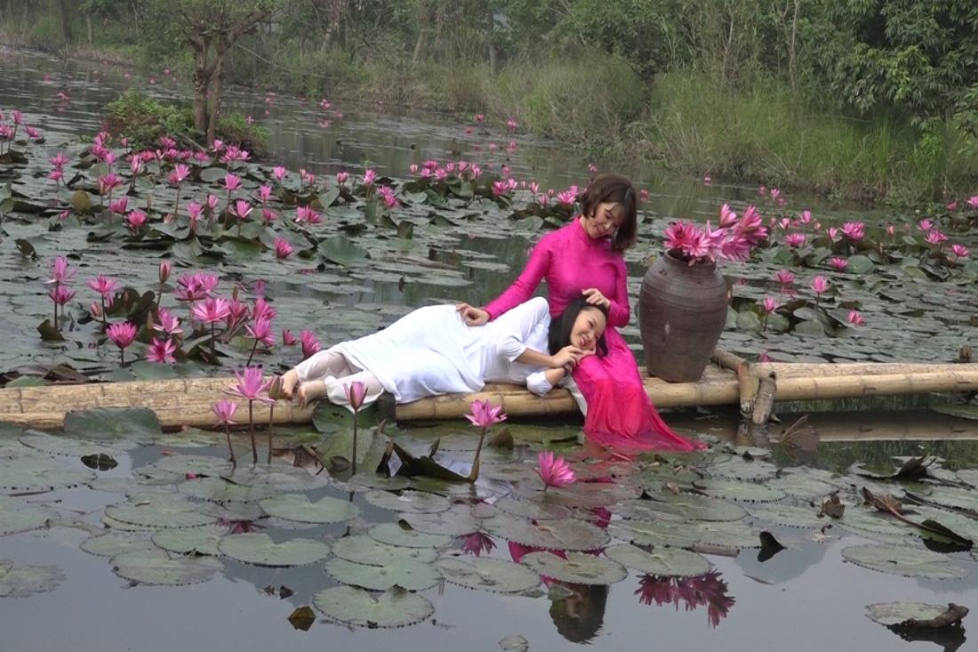 Hình ảnh hoa súng tím và hai cô áo hồng áo trắng